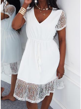 Jednolity Koronka Krótkie rękawy Sukienka Trapezowa Długośc do kolan Nieformalny Łyżwiaż Sukienki