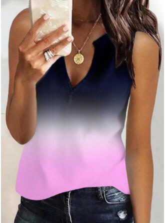 Gradient Dzianina Dekolt w kształcie litery V Bez Rękawów Koszulki bez rękawów
