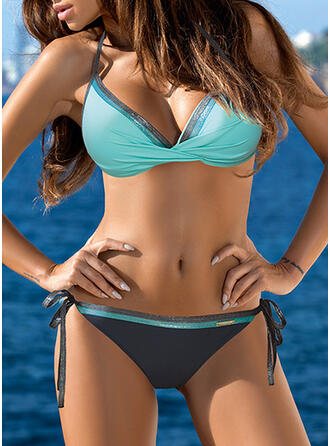 Low Waist Knotted Halter V-Neck Sexy Plus Size Bikinis Swimsuits