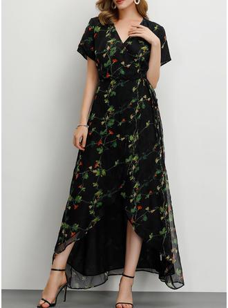 Nadrukowana/Kwiatowy Krótkie rękawy W kształcie litery A Casual/Przyjęcie/Elegancki Maxi Sukienki