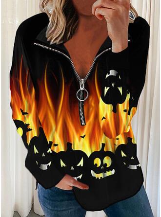 Halloween Nadruk Lapel Długie rękawy Bluza