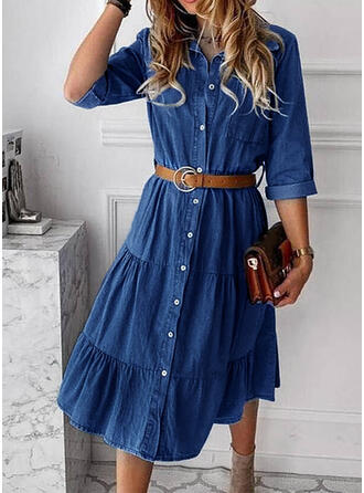 Solid 3/4 Sleeves A-line Shirt/Skater Casual/Denim Midi Dresses