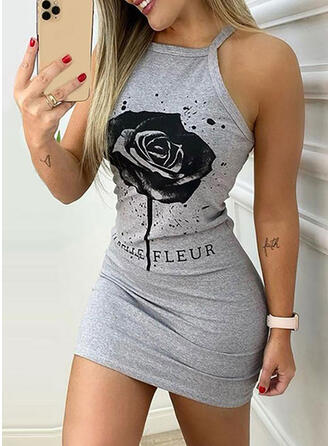 Print/Floral Sleeveless Bodycon Above Knee Casual Slip Dresses