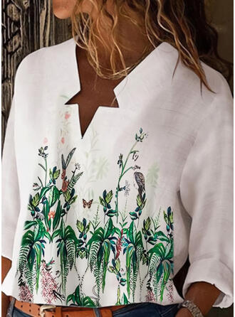 Kwiatowy Zwierzęcy Dekolt w kształcie litery V Długie rękawy Casual Bluzki