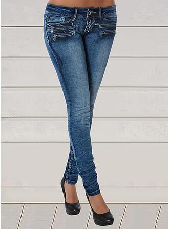 Jednolity Dżinsowa Długo Seksowny Duży rozmiar Pocket Dżinsy