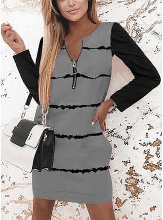 Nadruk/Blok Koloru Długie rękawy Suknie shift Nad kolana Nieformalny Tunika Sukienki