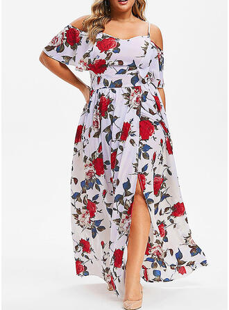Plus Size Floral Print Cold Shoulder Sleeve Short Sleeves A-line Maxi Casual Dress