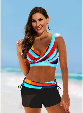 Pasek Nadruk Kolor splotu W prążki Dekolt w kształcie litery V Seksowny Wintage Bikini Stroje kąpielowe