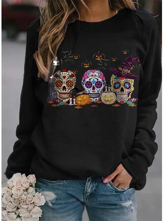 Halloween Nadruk Kwiatowy Serce Skull Head Okrągły dekolt Długie rękawy Bluza