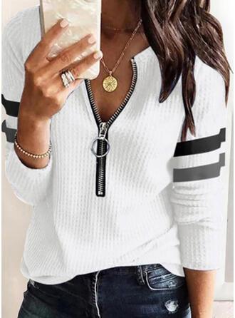 W paski Dekolt w kształcie litery V Długie rękawy Elegancki Bluzki