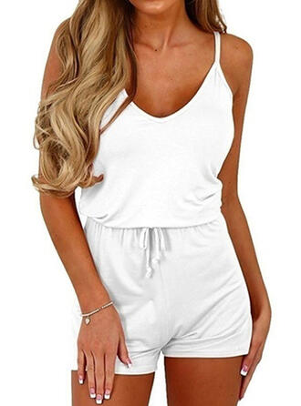 Solid Spaghetti Strap Sleeveless Casual Vacation Romper