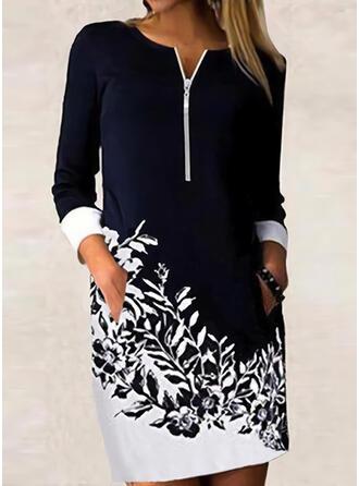 Nadruk/Kwiatowy/Blok Koloru Długie rękawy Suknie shift Nad kolana Nieformalny/Biuro / Biznes Tunika Sukienki