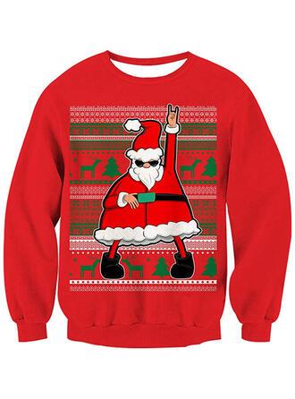 Damskie Nadruk Święty Mikołaj Renifer Brzydki świąteczny sweter