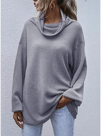 Solid High Neck Long Sleeves Casual Basic T-shirts