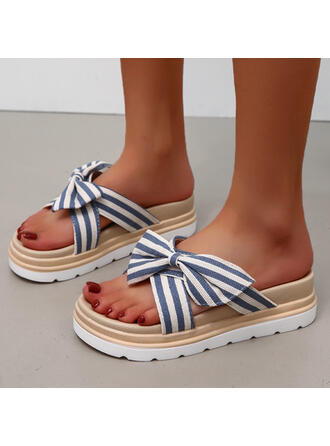 Women's Cloth Flat Heel Sandals Flats Peep Toe Slippers Round Toe With Bowknot Striped shoes