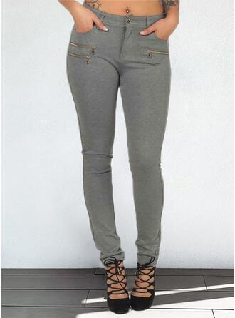 Jednolity Długo Nieformalny Duży rozmiar Pocket Przycisk Spodnie