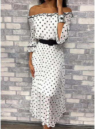 PolkaDot 3/4 Sleeves A-line Skater Casual Midi Dresses