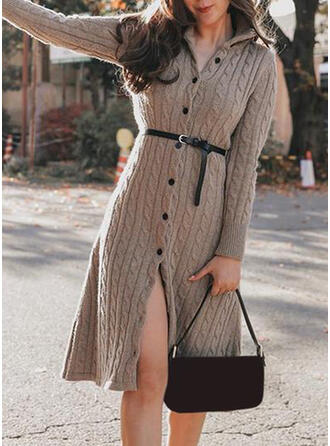 Solid Cable-knit Turtleneck Casual Sweater Dress
