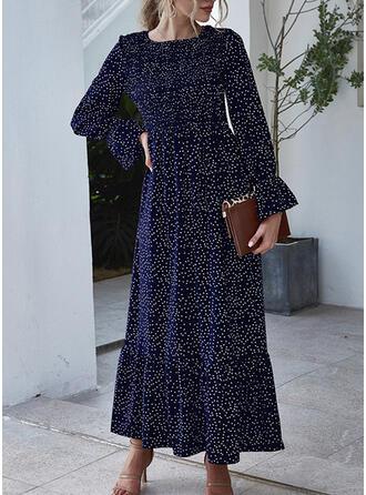 Nadrukowana Długie rękawy/Rozkloszowane rękawy W kształcie litery A Łyżwiaż Casual Maxi Sukienki