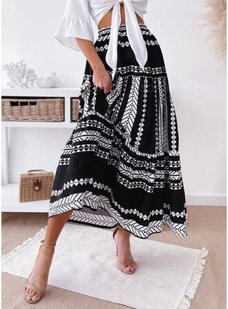 Mieszanki bawełny Wydrukować Maxi Spódnice A-Line