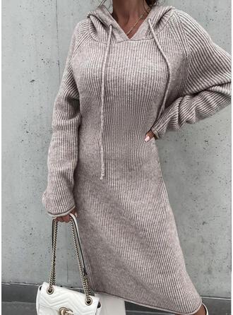 Jednolity Bluza z kapturem Nieformalny Sukienka sweterkowa
