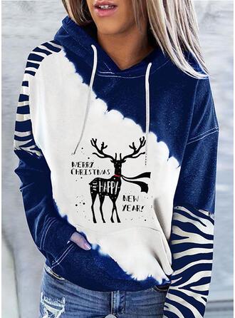 Boże Narodzenie Nadruk Blok Koloru Wytłaczany Deer Bluza z kapturem Długie rękawy Bluza z kapturem