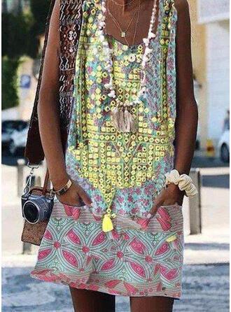Floral Splice color Strap U-Neck Plus Size Casual Boho Cover-ups Swimsuits
