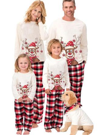 Renifer Kratę Kreskówka Rodzinne Dopasowanie Świąteczne piżamy