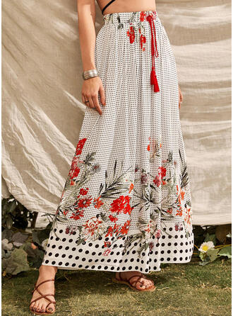 Polyester Cotton Print Floral Maxi A-Line Skirts