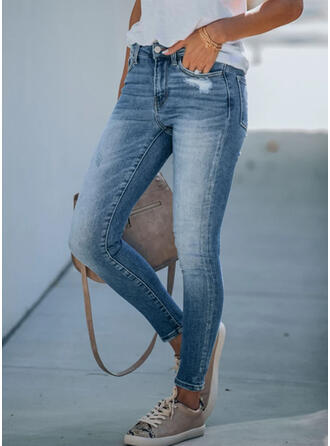 Shirred Plus Size Ripped Elegant Skinny Denim & Jeans