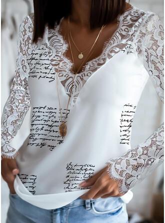 Nadruk Koronka Wytłaczany Dekolt w kształcie litery V Długie rękawy Elegancki Bluzki