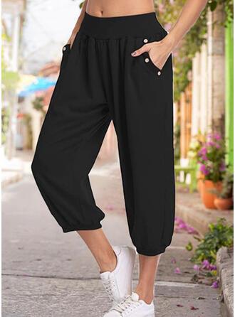 Jednolity Bawełna Capris Nieformalny Pocket Przycisk Spodnie