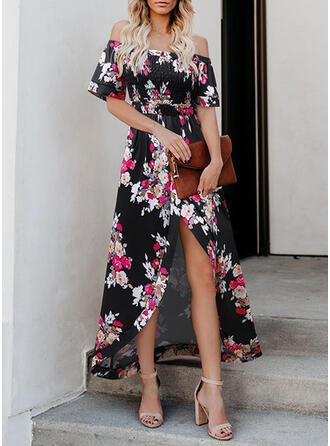 Nadrukowana/Kwiatowy Rękawy 1/2 W kształcie litery A Asymetryczna Casual/Wakacyjna Sukienki