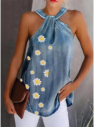 Floral Print Strap Sleeveless Tank Tops