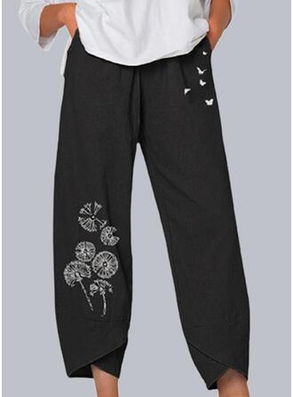 Nadruk Mlecz Zwierzę butterfly Przycięte Nieformalny Pocket Spodnie Spodnie Lounge