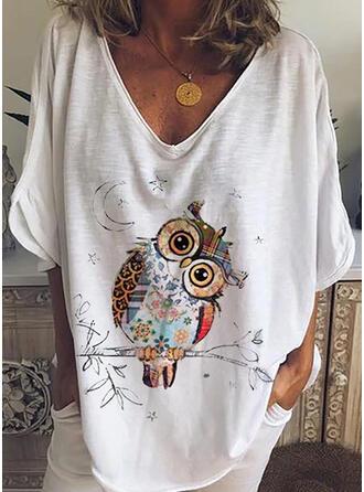 Zwierzęcy Dekolt w kształcie litery V Rękaw 3/4 Casual T-shirty