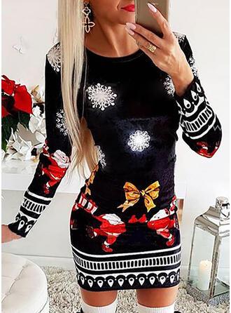 Nadrukowana Długie rękawy Bodycon Nad kolana Boże Narodzenie/Casual Sukienki