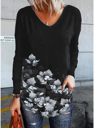 Kwiatowy Nadruk Dekolt w kształcie litery V Długie rękawy T-shirty