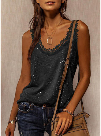 Lace Print Round Neck Sleeveless Tank Tops
