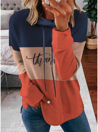 Nadruk Blok Koloru Wytłaczany Długie rękawy Bluza z kapturem