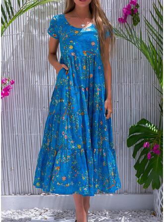 Nadrukowana/Kwiatowy Krótkie rękawy W kształcie litery A Casual/Wakacyjna Midi Sukienki