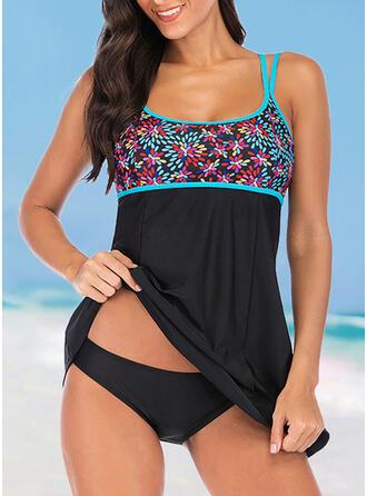 Print Splice color Strap V-Neck Casual Exquisite Swimdresses Swimsuits