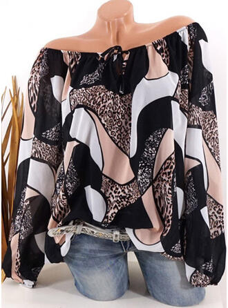 Print Color Block Leopard V-Neck Long Sleeves Casual Blouses