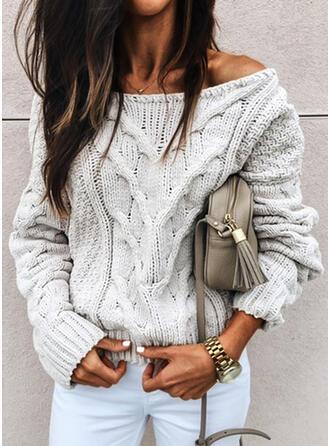Jednolity Prążkowana dzianina Okrągły dekolt Nieformalny Swetry
