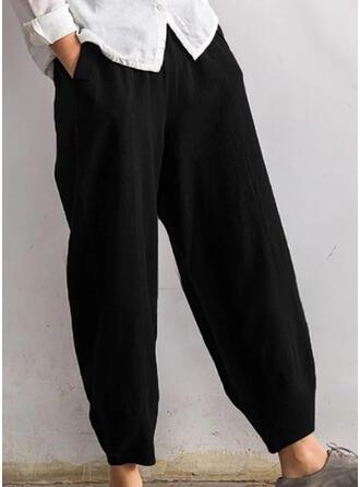 Jednolity Kieszenie Marszczona midi Nieformalny Jednolity Równina Spodnie