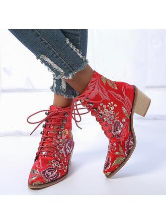 Dla kobiet PU Obcas Slupek Botki Spiczasty palec u nogi Z Sznurowanie Nadruk Kwiatowy obuwie