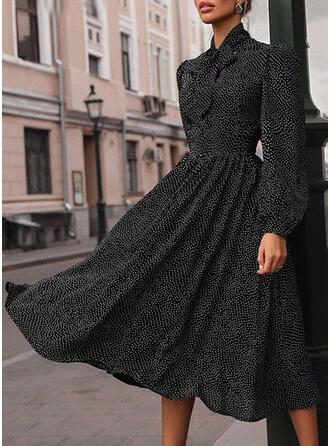 Nadrukowana Długie rękawy W kształcie litery A Łyżwiaż Casual Midi Sukienki