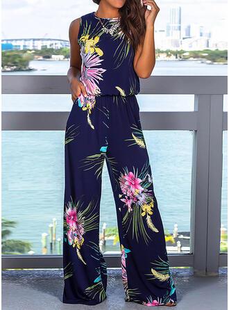Kwiatowy Nadruk Okrągły dekolt Bez Rękawów Nieformalny Elegancki Kombinezon