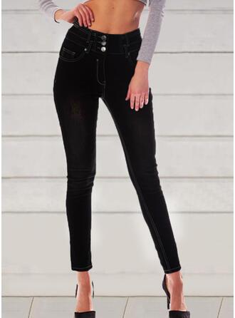 Solid Shirred Elegant Vintage Denim & Jeans