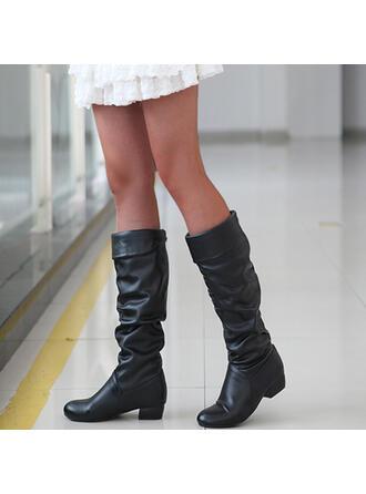Dla kobiet PU Płaski Obcas Kozaki Kozaki do kolan Muszkieterki Buty zimowe Wysoki szczyt Z Jednolity kolor obuwie